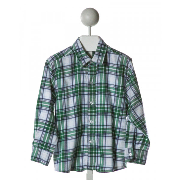 SHRIMP & GRITS  GREEN  PLAID  CLOTH LS SHIRT