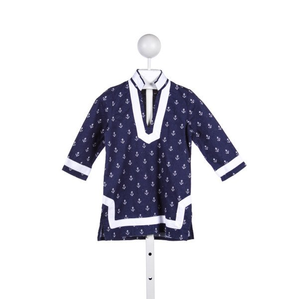 SNAPPING TURTLE KIDS BLUE ANCHOR PRINT TUNIC TOP