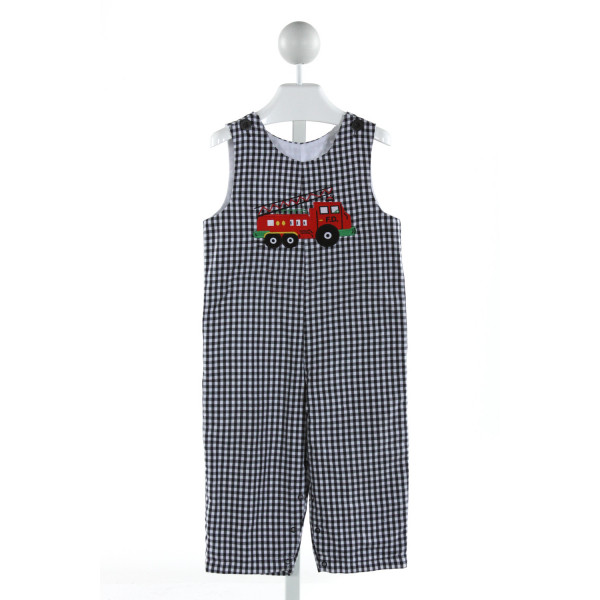 KELLY'S KIDS  BLACK  GINGHAM EMBROIDERED LONGALL/ROMPER