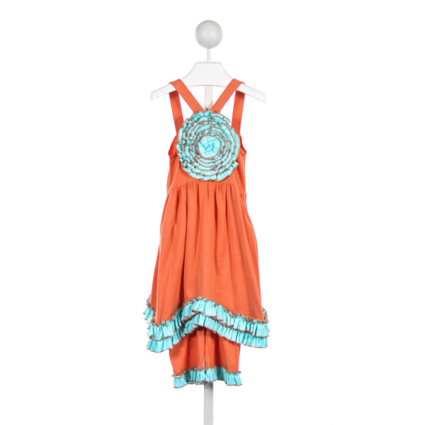SAM & SYDNEY ORANGE AND BLUE KNIT ROSETTE SHORT SET
