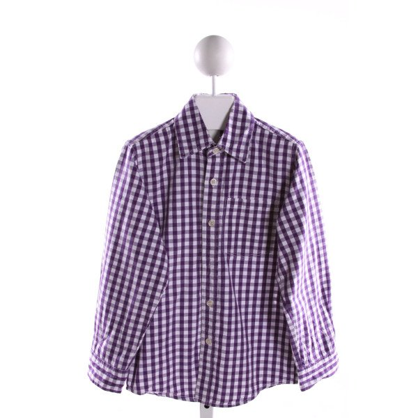 WES AND WILLY  PURPLE  GINGHAM  CLOTH LS SHIRT