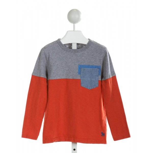 MINI BODEN  ORANGE    KNIT LS SHIRT