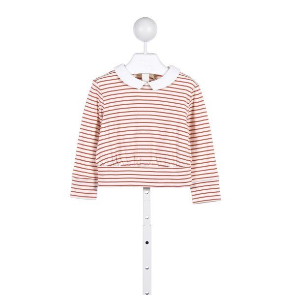 OLIVE JUICE IVORY AND ORANGE STRIPED KNIT TOP