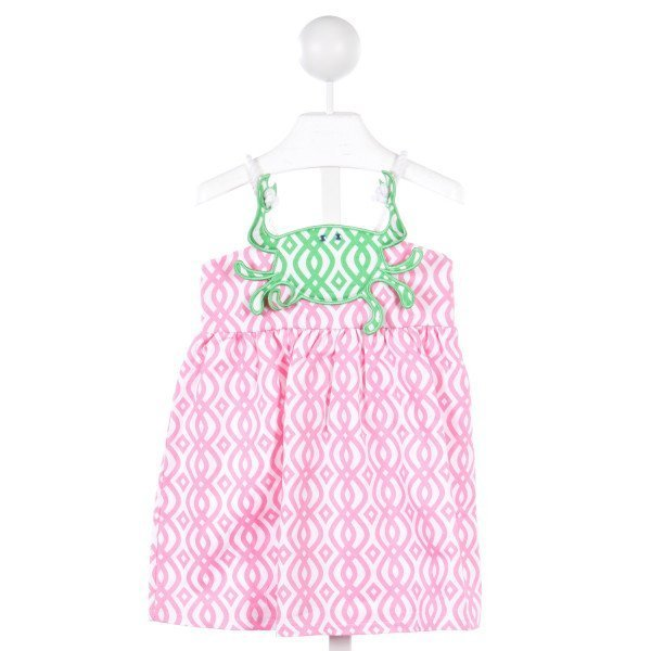 MUD PIE PINK DRESS WITH GREEN CRAB