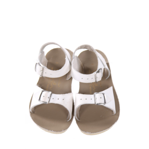 WHITE AND KHAKI SUN SANS/ SALTWATER SANDALS  *SIZE 8, GUC - SCUFFING AND DISCOLORATION