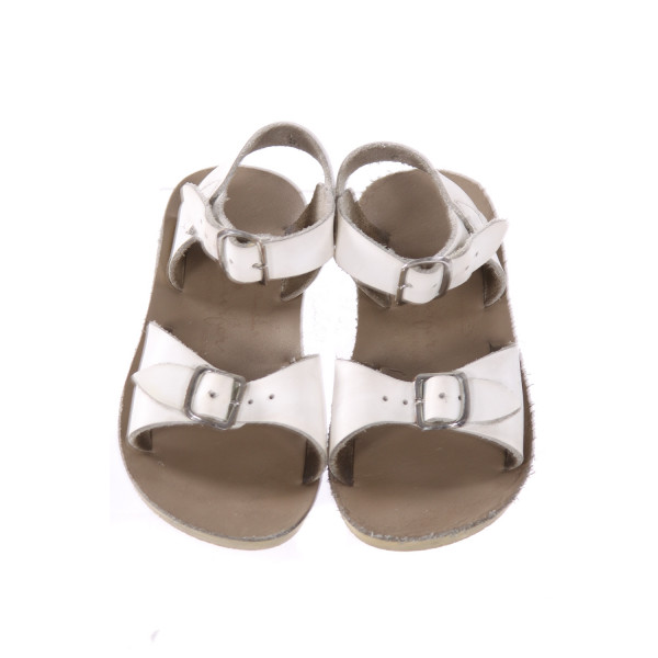WHITE AND KHAKI SUN SANS/ SALTWATER SANDALS *SIZE 8, VGU - MINOR SCUFFING AND DISCOLORATION