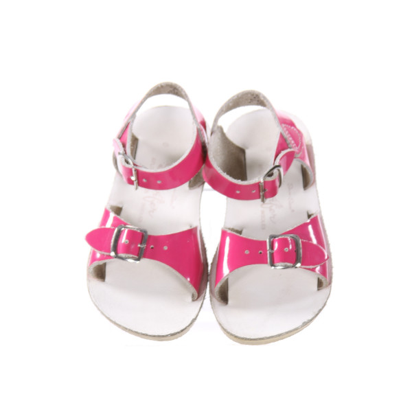 PINK AND WHITE SUN SANS/ SALTWATER SANDALS *SIZE 8, VGU - MINOR SCUFFING