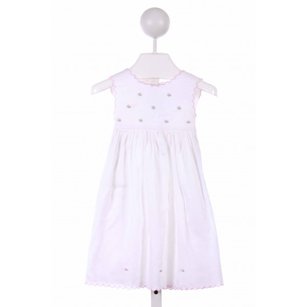 SOPHIE DESS  WHITE PIQUE  EMBROIDERED CASUAL DRESS WITH PICOT STITCHING