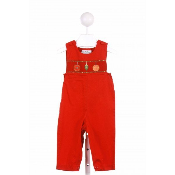 THE PLANTATION SHOP  RED PIQUE  SMOCKED LONGALL/ROMPER