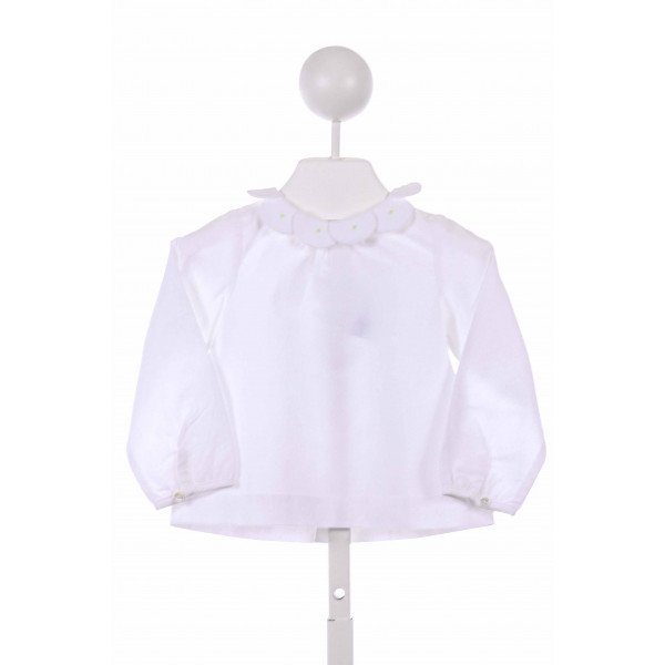 JACADI  WHITE   EMBROIDERED CLOTH LS SHIRT