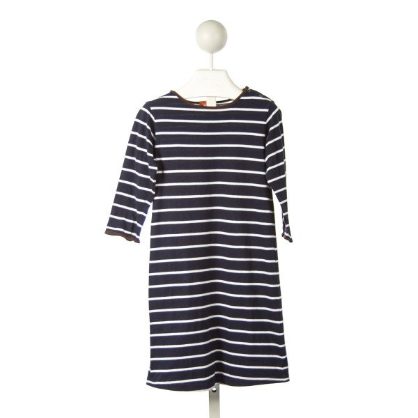 KULE NAVY STRIPED KNIT DRESS WITH BROWN PIPING