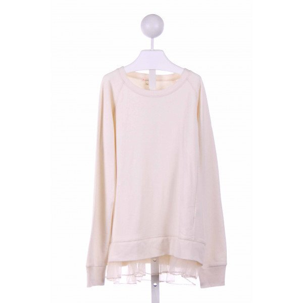 CREWCUTS  CREAM    KNIT LS SHIRT WITH TULLE