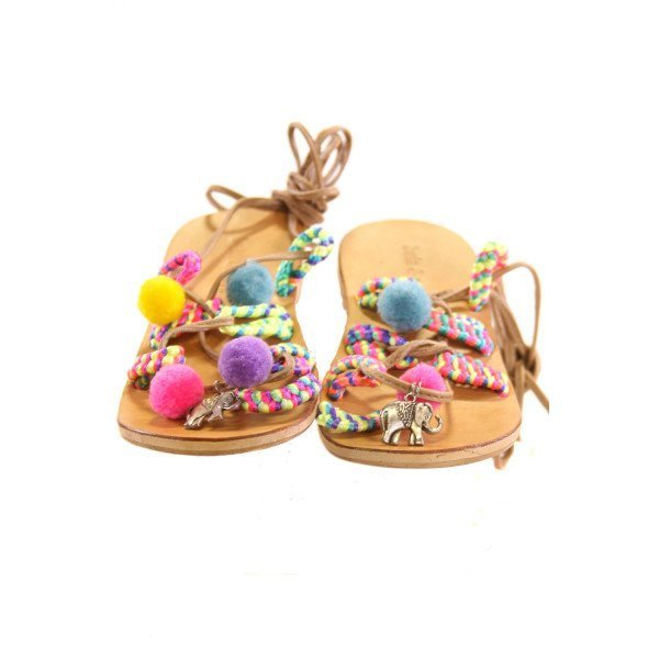 BELA & NUNI BROWN SANDALS WITH MULTI-COLORED POM-POMS *SIZE 12, VGU - SOME SLIGHT DISCOLORATION TO SOME POM-POMS