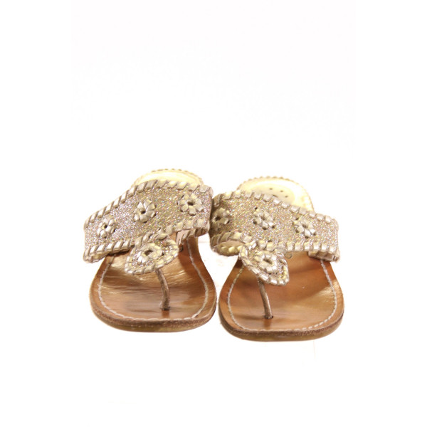 JACK ROGERS GOLD SPARKLE SANDALS *NO SIZE TAG, APPROX SIZE 12, VGU - MINOR WEAR AND SCUFFING