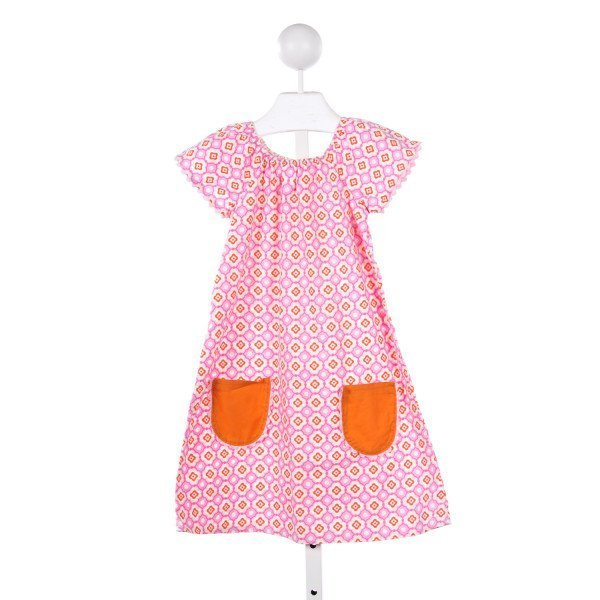 LOLLIPOP LAUNDRY PINK AND ORANGE PATTERN DRESS *ONE POCKET CORNER NEEDS TO BE TACKED DOWN