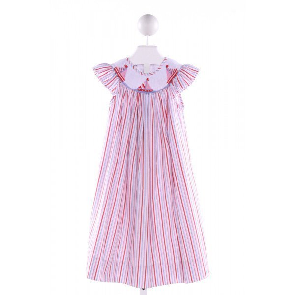 CUKEES  MULTI-COLOR  STRIPED SMOCKED DRESS WITH RUFFLE
