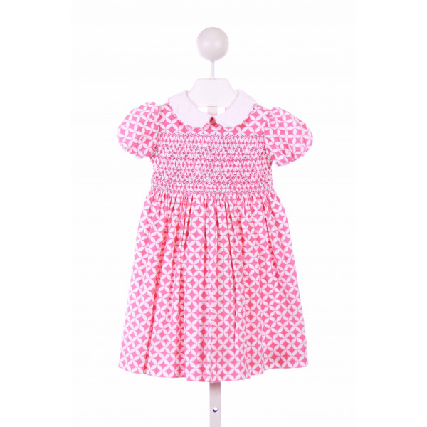 EMILY LACEY  PINK CORDUROY PRINT SMOCKED CASUAL DRESS