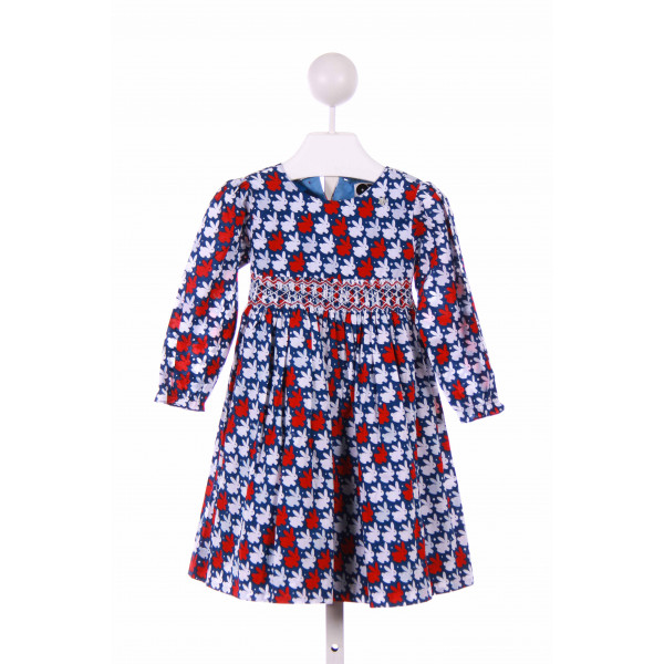 QUESTION EVERYTHING  BLUE  PRINT SMOCKED CASUAL DRESS