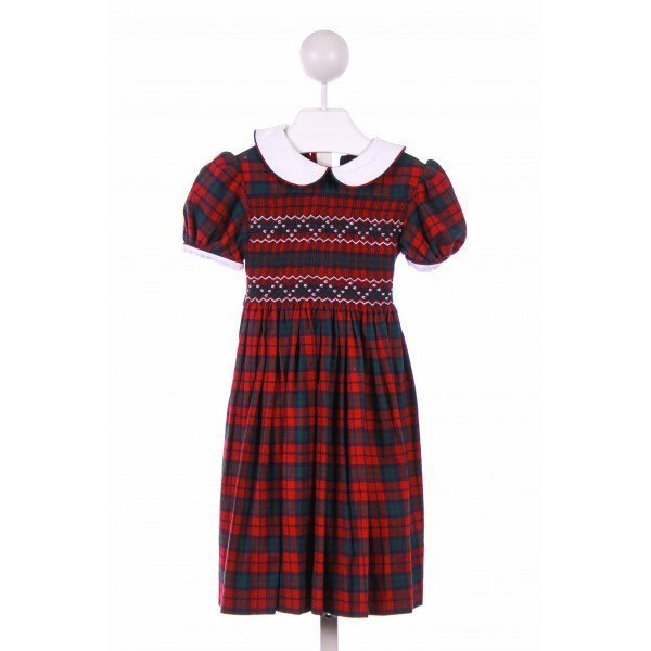 EMILY LACEY  RED  PLAID SMOCKED CASUAL DRESS