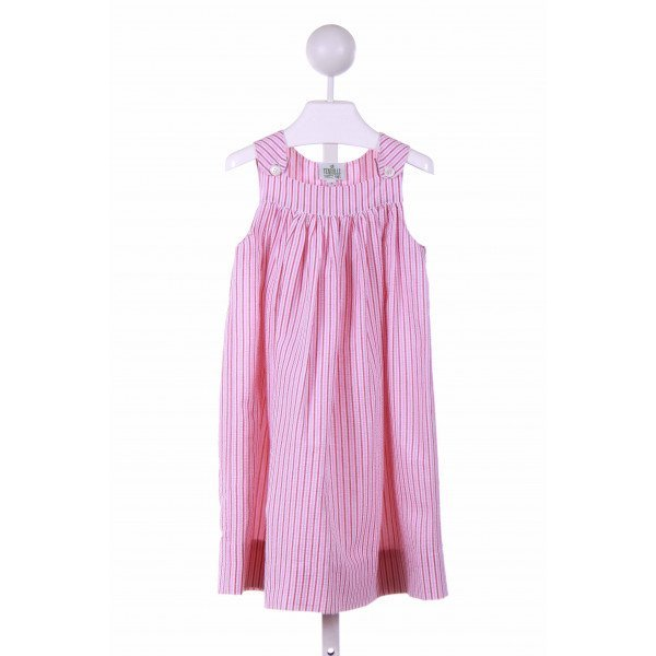 TENNILLE KIDS  PINK SEERSUCKER STRIPED  CASUAL DRESS