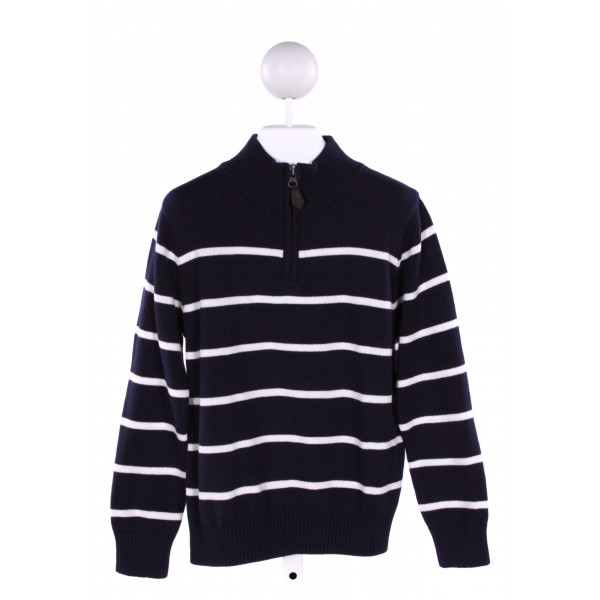 E-LAND  NAVY COTTON STRIPED  QUARTER ZIP PULLOVER