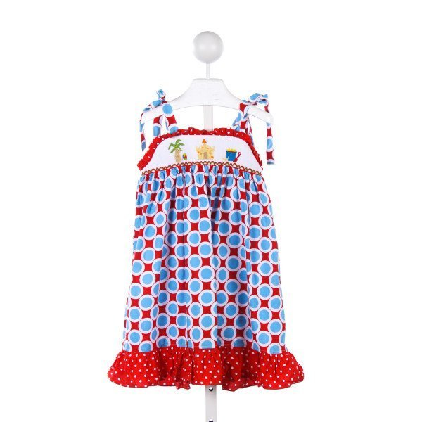 HONESTY RED AND TURQUOISE SMOCKED BEACH THEMED SUNDRESS