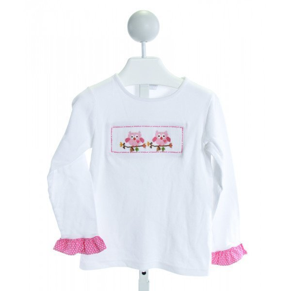 RAGSLAND  WHITE   SMOCKED KNIT LS SHIRT WITH RUFFLE