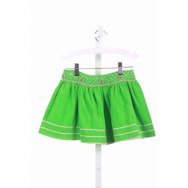 FANCY THREADS  GREEN CORDUROY  SMOCKED SKIRT WITH RIC RAC