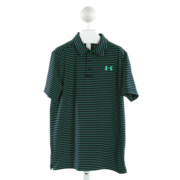 UNDER ARMOUR  NAVY  STRIPED  CLOTH SS SHIRT