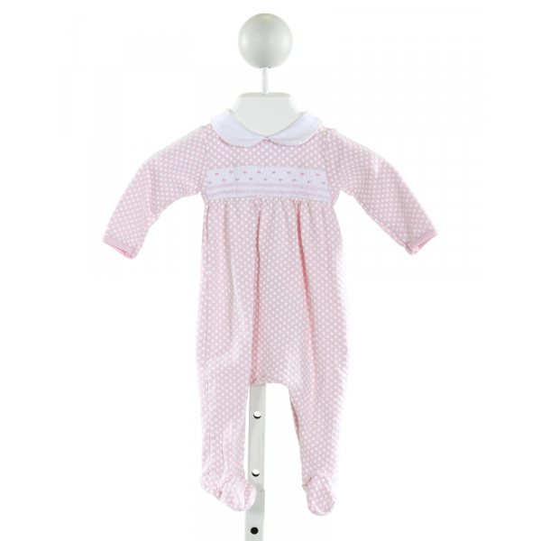 MAGNOLIA BABY  LT PINK  POLKA DOT SMOCKED LAYETTE WITH PICOT STITCHING