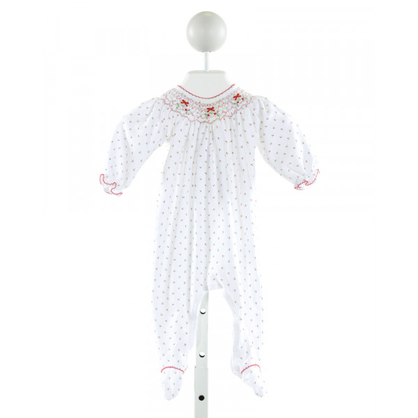 MAGNOLIA BABY  WHITE  FLORAL SMOCKED LAYETTE WITH PICOT STITCHING