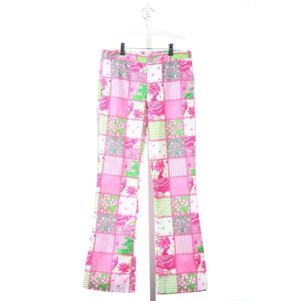 LILLY PULITZER PINK AND GREEN SQUARE PRINT PANTS