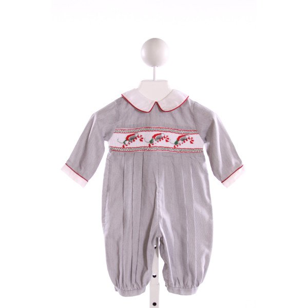 ROYAL CHILD  MULTI-COLOR  STRIPED SMOCKED LONGALL/ROMPER