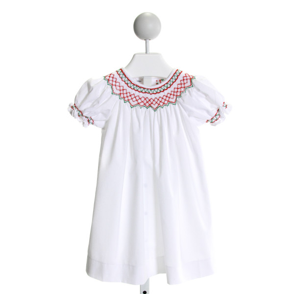 SWEET DREAMS  WHITE   SMOCKED DRESS WITH RUFFLE