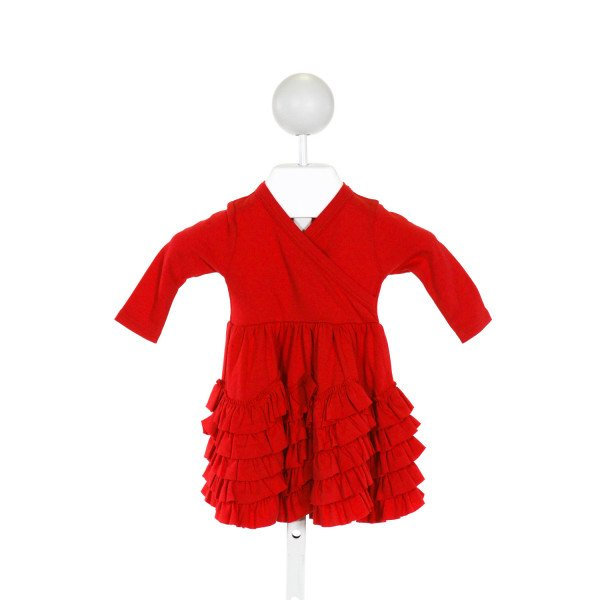 LEMON LOVES LAYETTE  RED    KNIT DRESS WITH RUFFLE