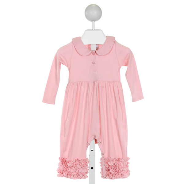 LEMON LOVES LAYETTE  PINK    KNIT ROMPER WITH RUFFLE