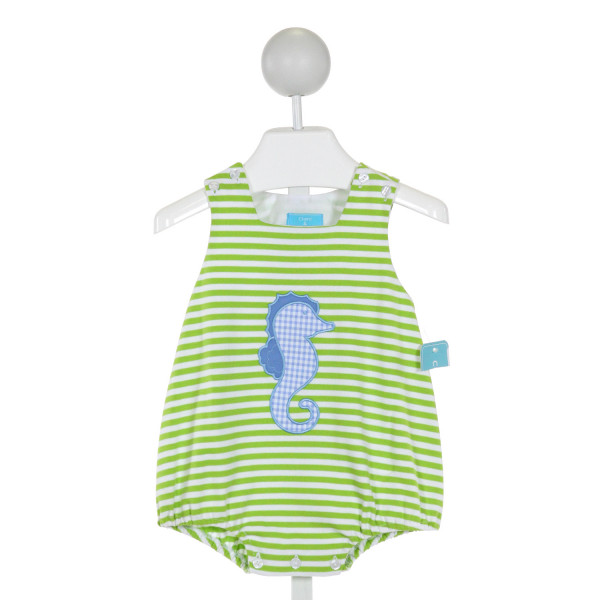 CLAIRE AND CHARLIE  GREEN  STRIPED APPLIQUED BUBBLE