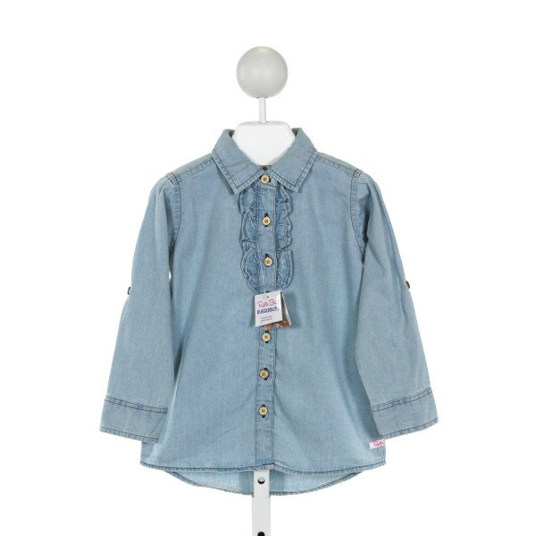 RUFFLE BUTTS  CHAMBRAY    CLOTH LS SHIRT WITH RUFFLE