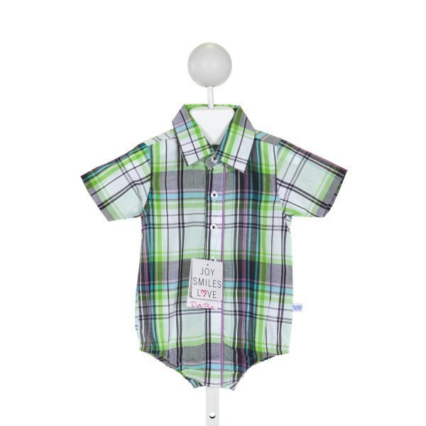 RUGGED BUTTS  GREEN  PLAID  CLOTH SS SHIRT