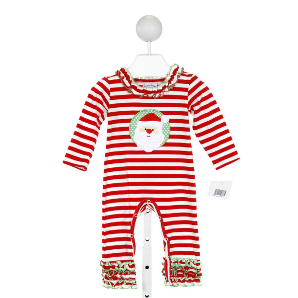 THREE SISTERS  RED  STRIPED APPLIQUED LAYETTE WITH RUFFLE