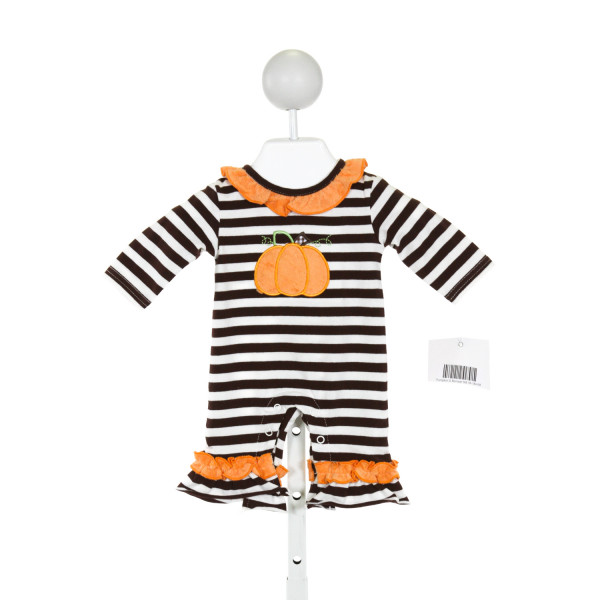 THREE SISTERS  BROWN  STRIPED APPLIQUED ROMPER