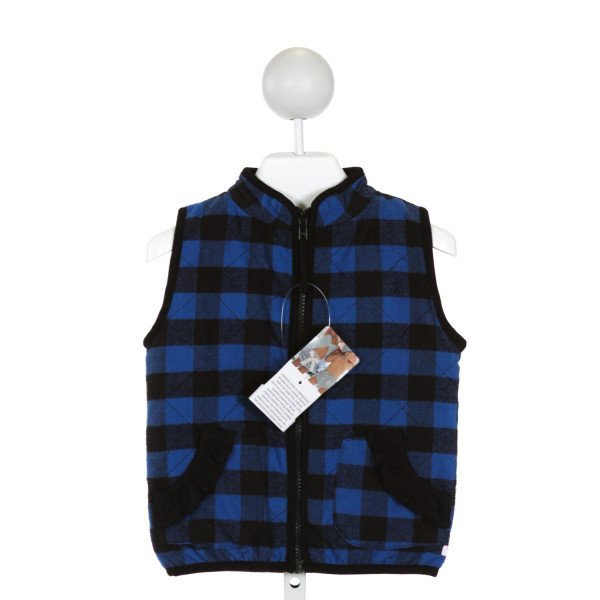 RUFFLE BUTTS  BLUE  PLAID  VEST WITH RUFFLE