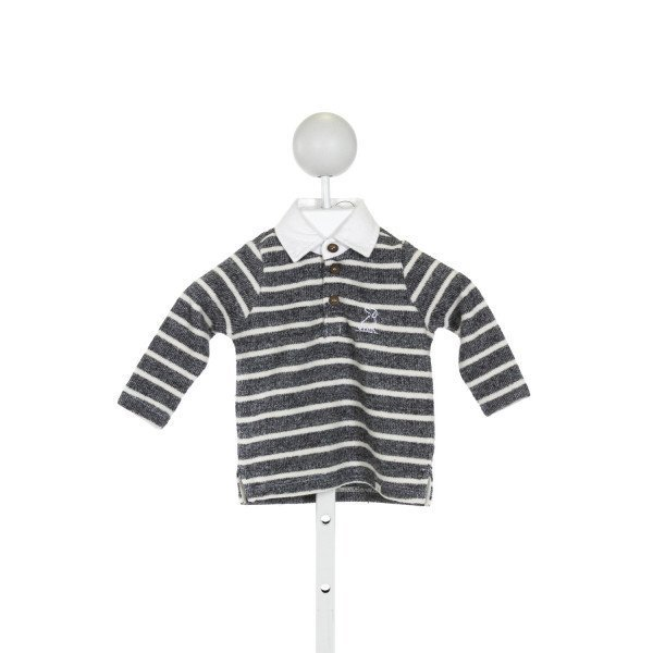ME + HENRY  BLUE  STRIPED  KNIT LS SHIRT