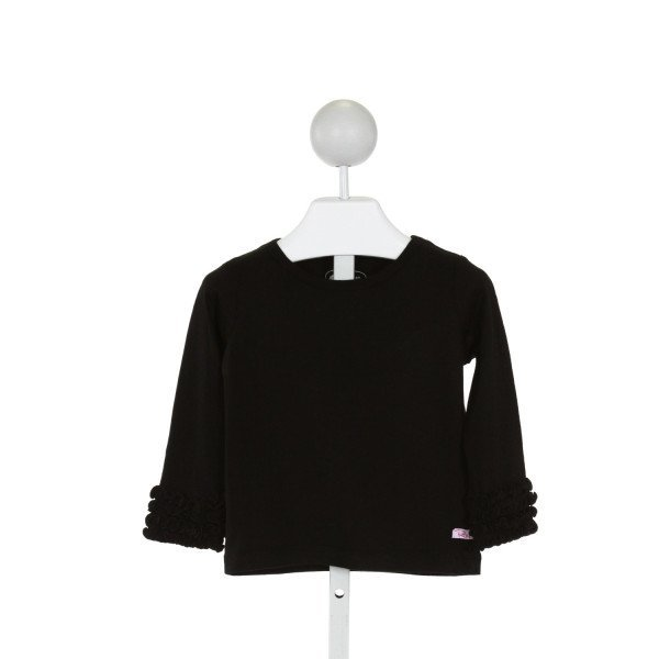 RUFFLE BUTTS  BLACK    KNIT LS SHIRT WITH RUFFLE