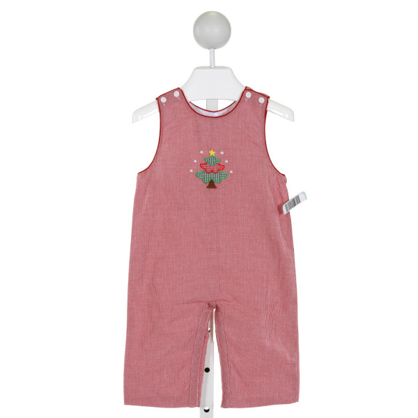 PETIT BEBE  RED  MICROCHECK EMBROIDERED LONGALL/ROMPER