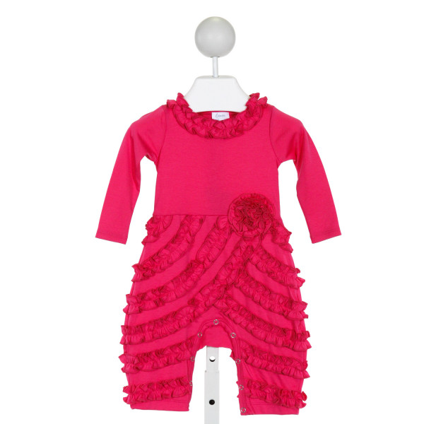 LEMON LOVES LAYETTE  PINK COTTON   ROMPER WITH RUFFLE