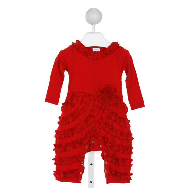 LEMON LOVES LAYETTE  RED COTTON   ROMPER WITH RUFFLE