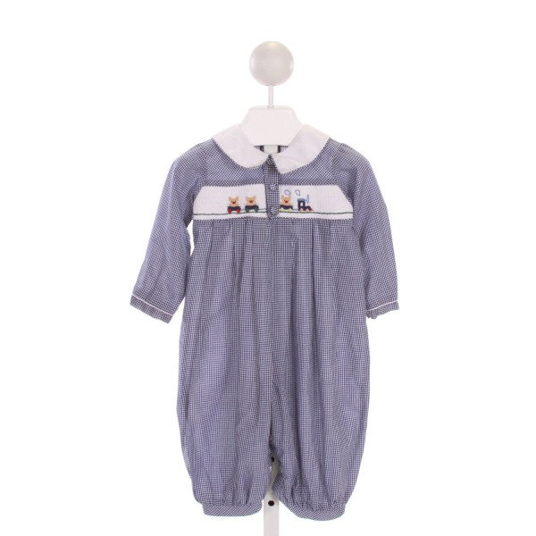 ROYAL CHILD  BLUE  GINGHAM SMOCKED LONGALL/ROMPER