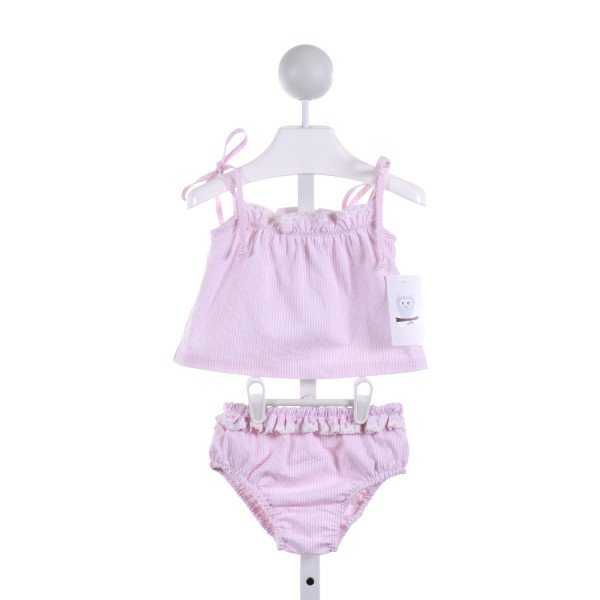 KATE & LIBBY  LT PINK SEERSUCKER STRIPED  2-PIECE SWIMSUIT WITH RIC RAC