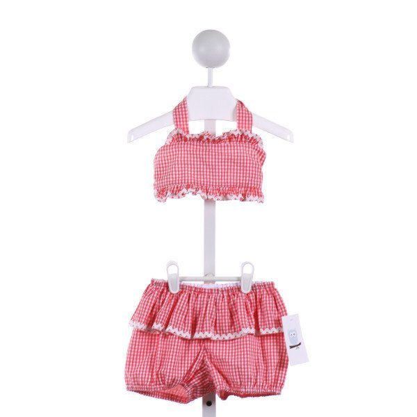 KATE & LIBBY  CORAL  GINGHAM  2-PIECE SWIMSUIT WITH RIC RAC